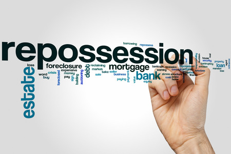 foreclosed: Repossession word cloud concept Stock Photo