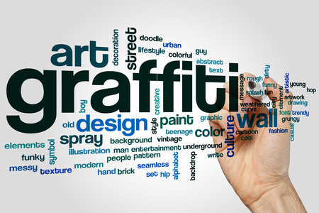 wall cloud: Graffiti word cloud concept with wall art related tags