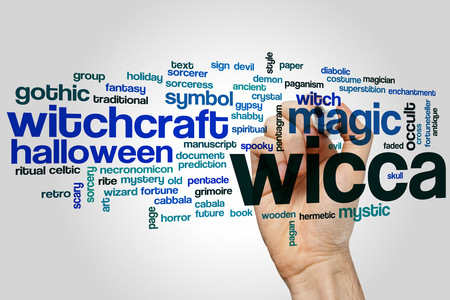 pentacle: Wicca word cloud concept with witchcraft symbol related tags