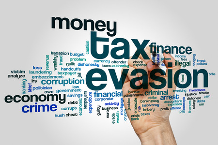evasion: Tax evasion concept word cloud background Stock Photo