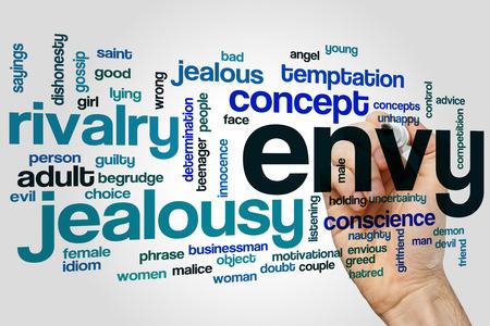 celos: Envidia palabra concepto nube con etiquetas relacionadas rivalidad celos Foto de archivo