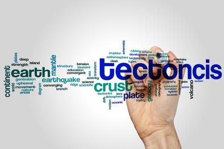 subduction: Tectonics word cloud concept Stock Photo