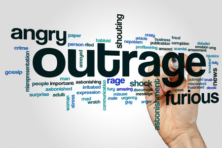 tags cloud: Outrage word cloud concept with angry rage related tags Stock Photo