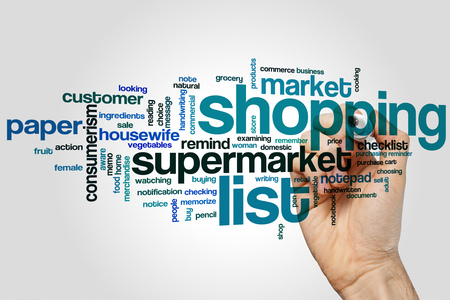 checking ingredients: Shopping list word cloud concept