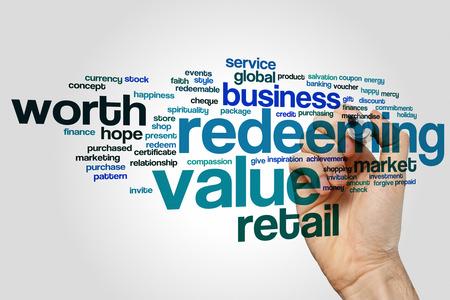 redeeming: Redeeming value concept word cloud background