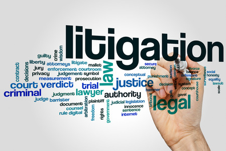 litigation: Litigation word cloud concept with legal law related tags