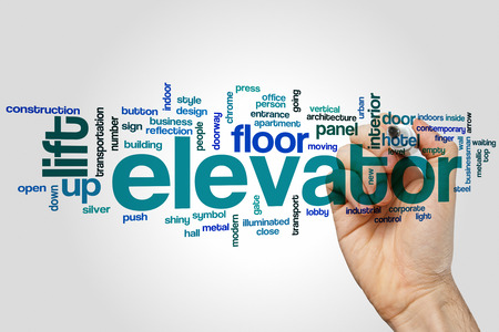 lift gate: Elevator word cloud concept