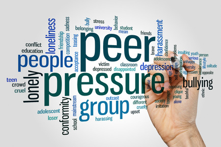 peer to peer: Peer pressure concept word cloud background