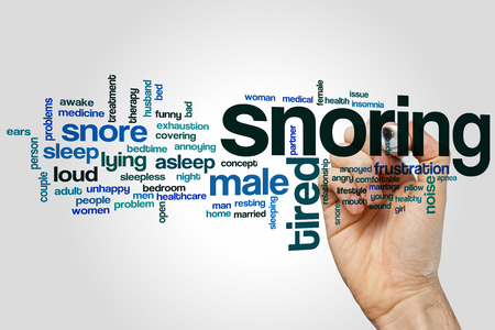 girl mouth: Snoring word cloud concept with sleep noise related tags
