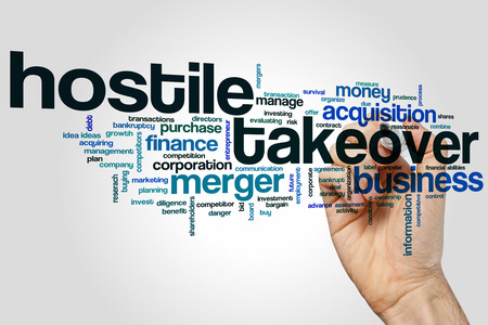 ownership and control: Hostile takeover concept word cloud background Stock Photo