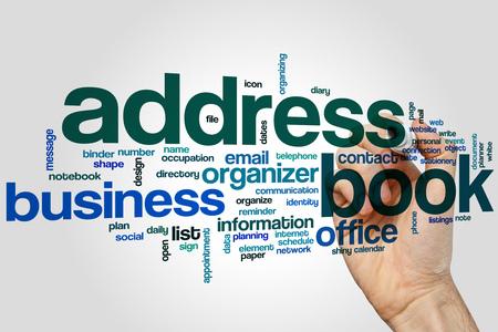 Address book word cloud concept Stock Photo