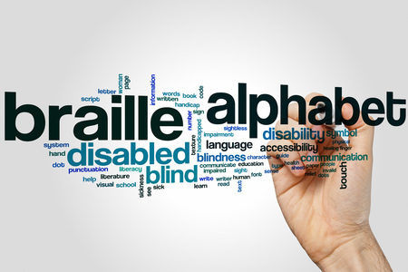 braille: Braille alphabet word cloud concept with blind touch related tags Stock Photo