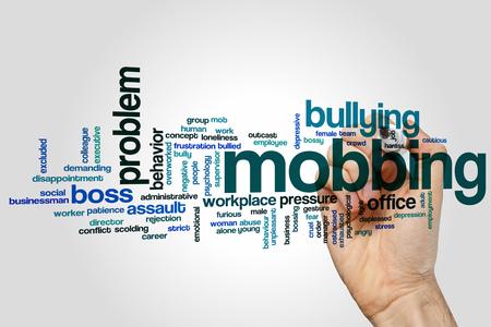 Concetto di Mobbing, parola, nuvola sfondo