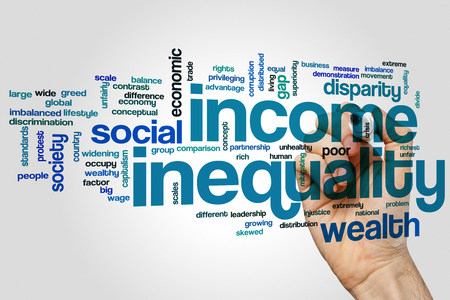 inequality: Income inequality word cloud concept