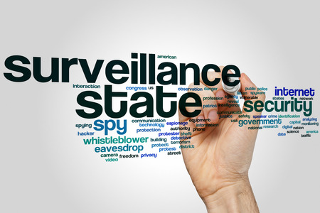 Surveillance state concept word cloud background