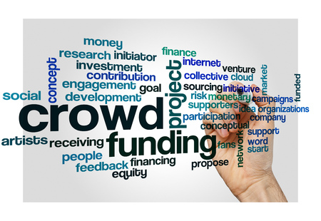 initiator: crowd funding word cloud concept for social media Stock Photo