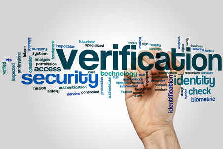 verification: Verification word cloud concept Stock Photo