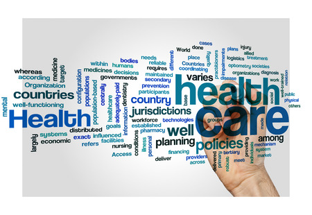 nursing department: healthcare policy plan disease health concept background on white Stock Photo