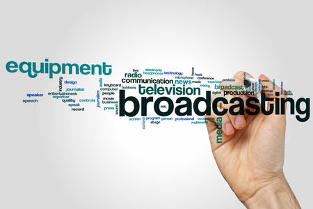 broadcasting: Broadcasting word cloud concept with media technology related tags