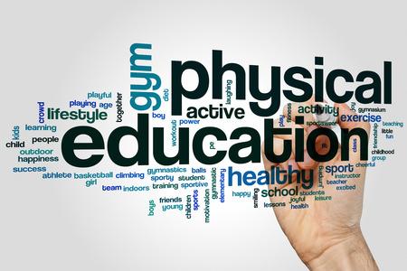 educacion fisica: La educaci�n f�sica de nube de palabras concepto Foto de archivo