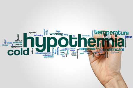 life threatening: Hypothermia word cloud concept Stock Photo