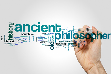 philosopher: Ancient philosopher word cloud concept with greek history related tags
