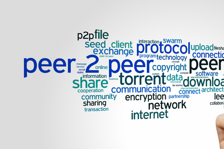 peer to peer: Peer 2 peer concept word cloud background