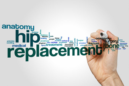 arthritic: Hip replacement word cloud concept Stock Photo