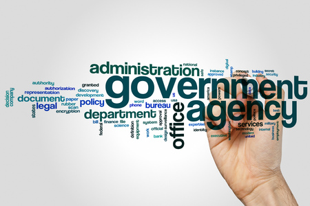 Government agency word cloud concept with office administration related tags