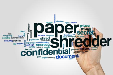 Paper shredder word cloud concept Foto de archivo