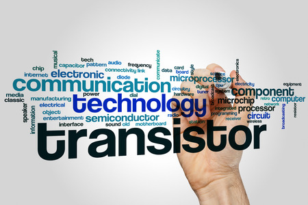 transistor: Transistor word cloud concept with technology component related tags
