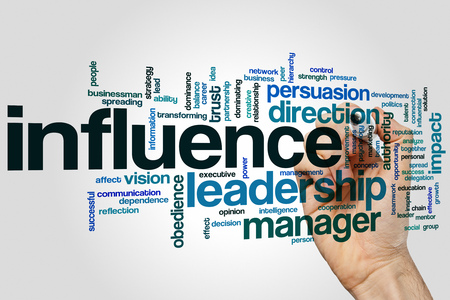 influence: Influence concept word cloud background