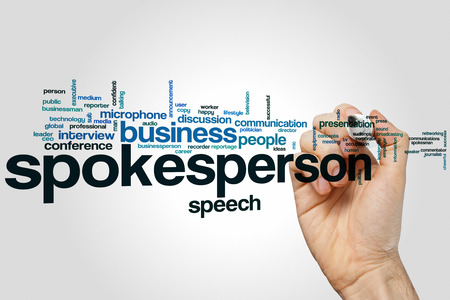 commentator: Spokesperson word cloud concept with business speech related tags