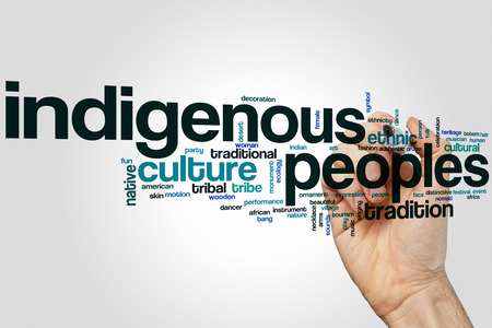 indigenous: Indigenous peoples word cloud concept Stock Photo