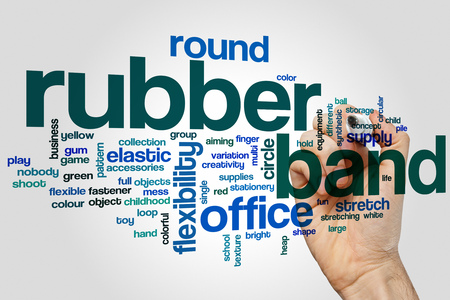 flexibility: Rubber band word cloud concept with flexibility elastic related tags Stock Photo