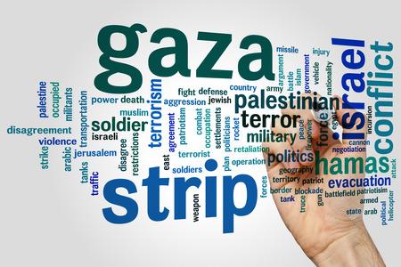 gaza: Gaza strip concept word cloud background Stock Photo