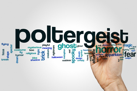 haunt: Poltergeist word cloud concept with horror ghost related tags