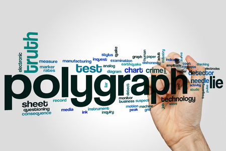 Polygraph word cloud concept with lie truth related tags