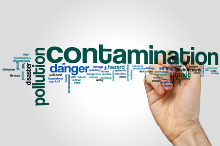 Contamination word cloud concept with pollution toxic related tags