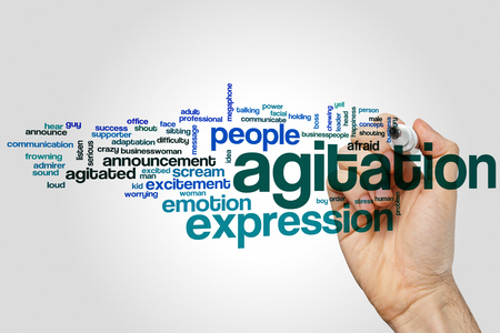 agitation: Agitation word cloud concept with emotion problem related tags Stock Photo