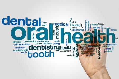 oral health: Oral health word cloud concept Stock Photo