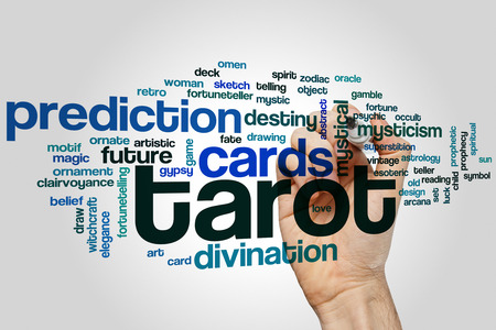 the art of divination: Tarot word cloud concept with cards divination related tags