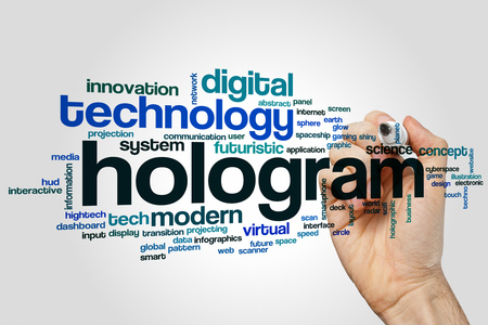 hologram: Hologram word cloud concept with modern virtual related tags