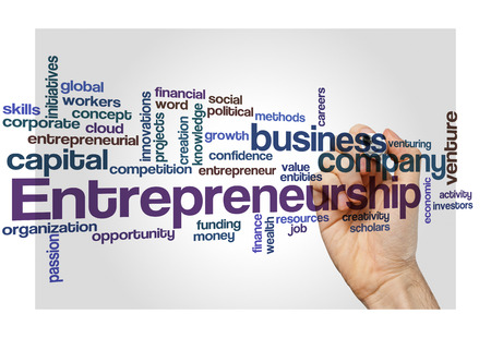entities: entrepreneurship word cloud concept isolated on white
