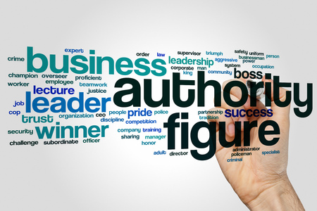 authority: Authority figure concept word cloud background Stock Photo