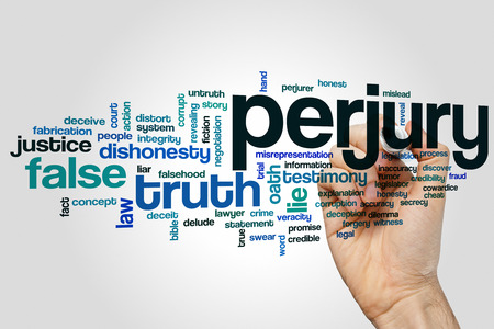 court process: Perjury word cloud concept Stock Photo