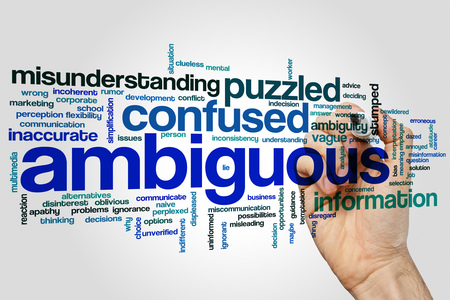 stumped: Ambiguous concept word cloud background Stock Photo