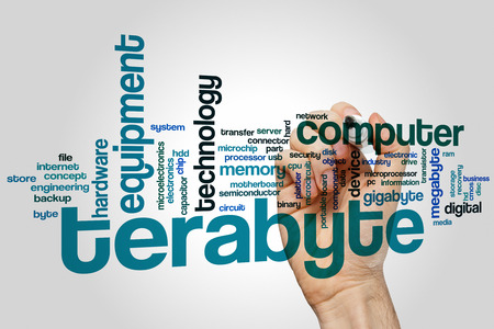 gigabyte: Terabyte word cloud concept with memory electronic related tags