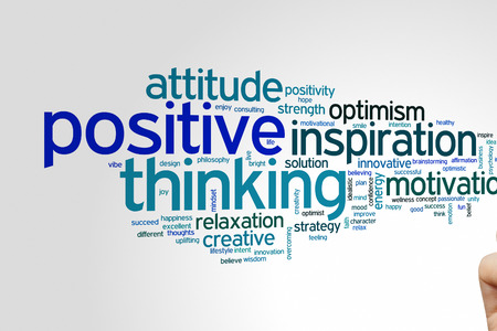 idealistic: Positive thinking concept word cloud background