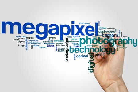megapixel: Megapixel concept word cloud background Stock Photo